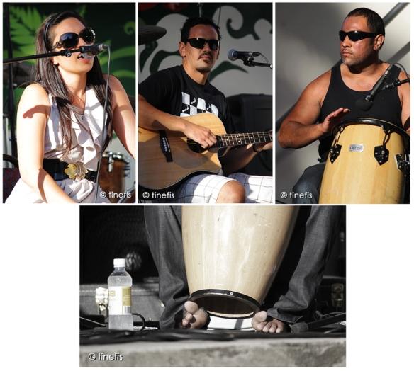 Artisten Kali Kopae, med sin fastman Jamie McCaskill och en van (som jag ej vet namnet pa) pa bongo trumma. Bild Under: Det ar otroligt vanligt i Nya Zeeland att folk gar runt barfota i ur och skur, sommar som vinter...