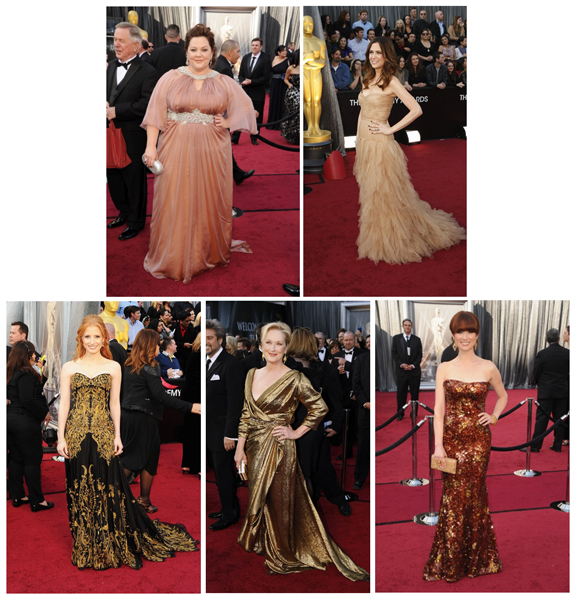beige, rosa och guld fanns oxå att se på röda mattan. Melissa Mc Carthy, Kristen Wiig,